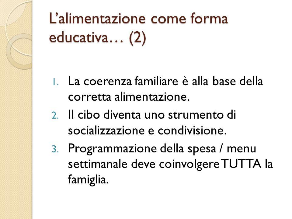 Lalimentazione come forma educativa… (2) 1. La coerenza familiare è alla base della corretta alimentazione. 2. Il cibo diventa uno strumento di social