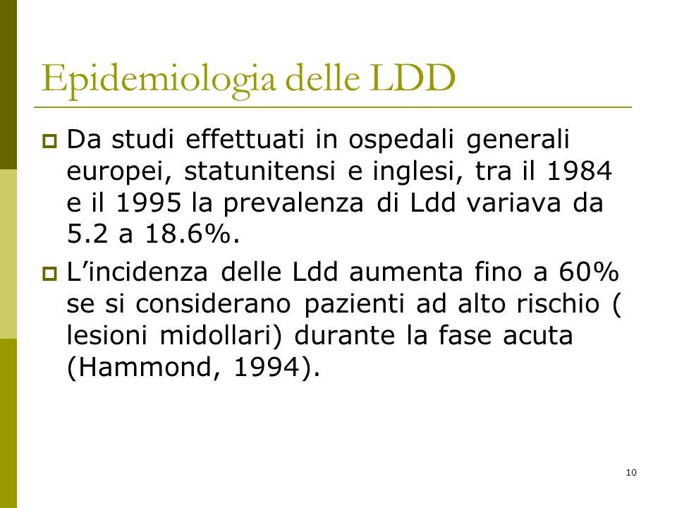 10 Epidemiologia delle LDD Da studi effettuati in ospedali generali europei, statunitensi e inglesi, tra il 1984 e il 1995 la prevalenza di Ldd variav