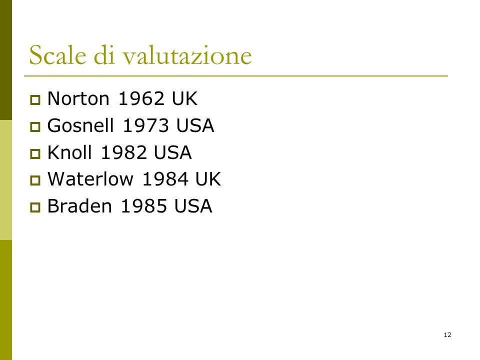 12 Scale di valutazione Norton 1962 UK Gosnell 1973 USA Knoll 1982 USA Waterlow 1984 UK Braden 1985 USA