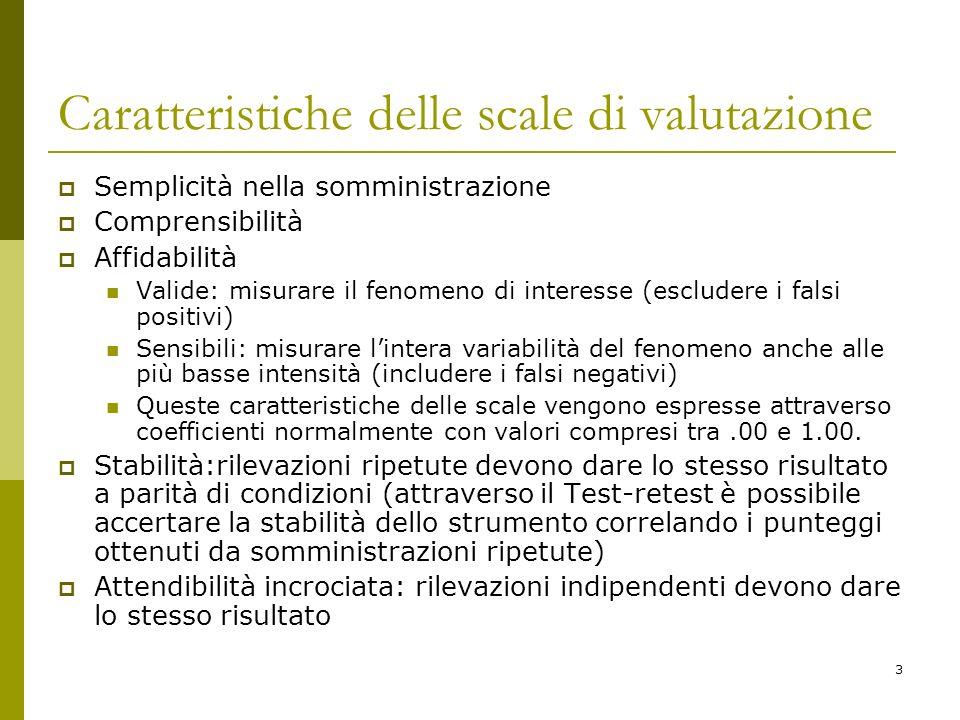3 Caratteristiche delle scale di valutazione Semplicità nella somministrazione Comprensibilità Affidabilità Valide: misurare il fenomeno di interesse
