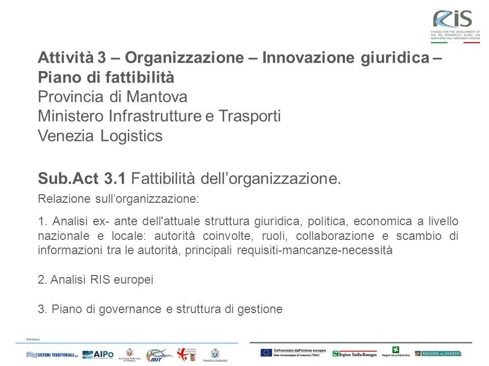 Attività 3 – Organizzazione – Innovazione giuridica – Piano di fattibilità Provincia di Mantova Ministero Infrastrutture e Trasporti Venezia Logistics Sub.Act 3.1 Fattibilità dellorganizzazione.