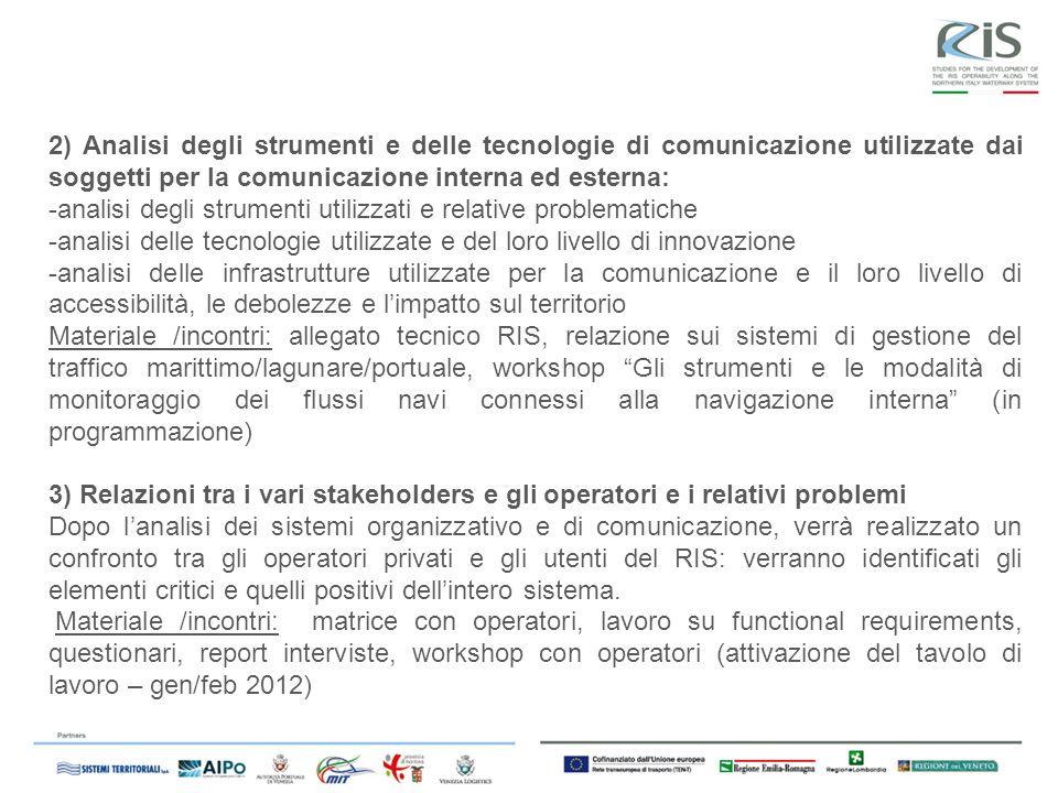 2) Analisi degli strumenti e delle tecnologie di comunicazione utilizzate dai soggetti per la comunicazione interna ed esterna: -analisi degli strumen