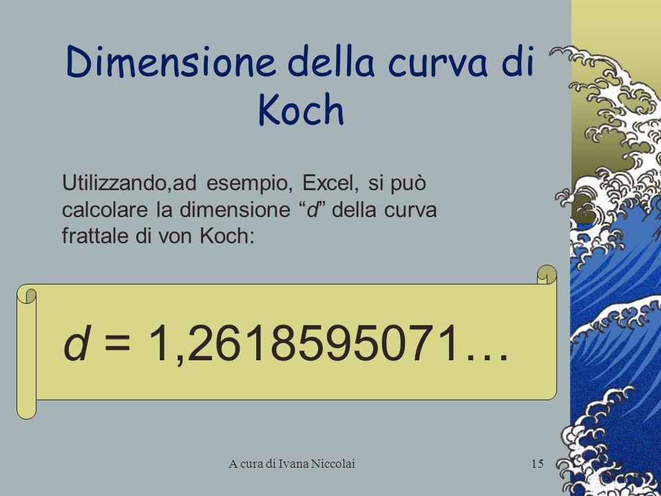 A cura di Ivana Niccolai15 Dimensione della curva di Koch Utilizzando,ad esempio, Excel, si può calcolare la dimensione d della curva frattale di von