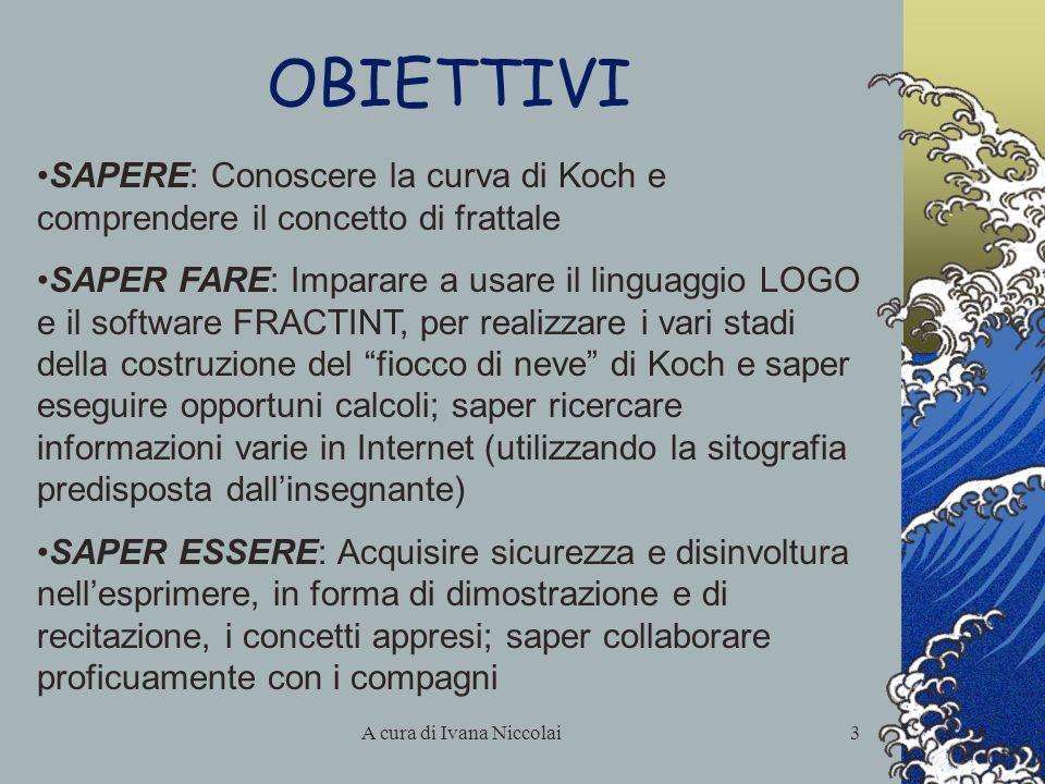 A cura di Ivana Niccolai3 OBIETTIVI SAPERE: Conoscere la curva di Koch e comprendere il concetto di frattale SAPER FARE: Imparare a usare il linguaggi