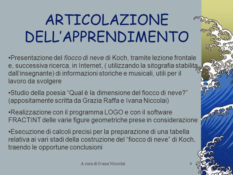 A cura di Ivana Niccolai4 ARTICOLAZIONE DELLAPPRENDIMENTO Presentazione del fiocco di neve di Koch, tramite lezione frontale e, successiva ricerca, in