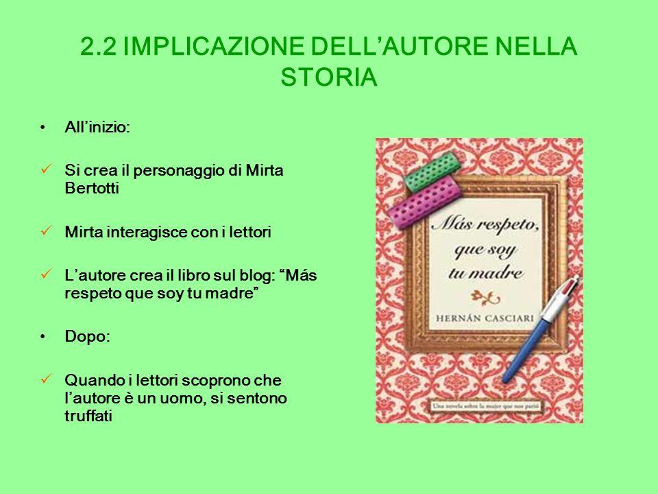 2.2 IMPLICAZIONE DELLAUTORE NELLA STORIA Allinizio: Si crea il personaggio di Mirta Bertotti Mirta interagisce con i lettori Lautore crea il libro sul