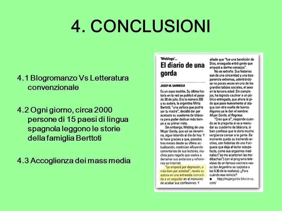 4. CONCLUSIONI 4.1 Blogromanzo Vs Letteratura convenzionale 4.2 Ogni giorno, circa 2000 persone di 15 paesi di lingua spagnola leggono le storie della