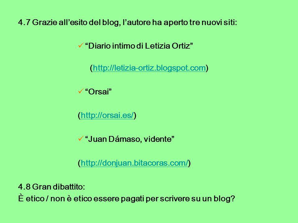 4.7 Grazie allesito del blog, lautore ha aperto tre nuovi siti: Diario intimo di Letizia Ortiz (http://letizia-ortiz.blogspot.com)http://letizia-ortiz