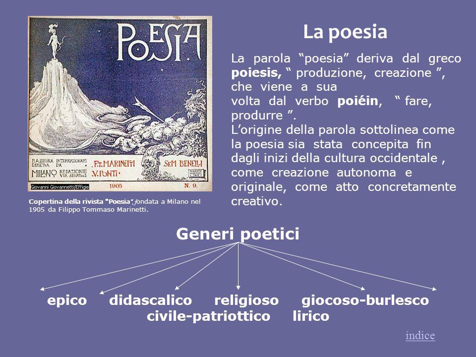 La parola poesia deriva dal greco poiesis, produzione, creazione, che viene a sua volta dal verbo poiéin, fare, produrre. Lorigine della parola sottol