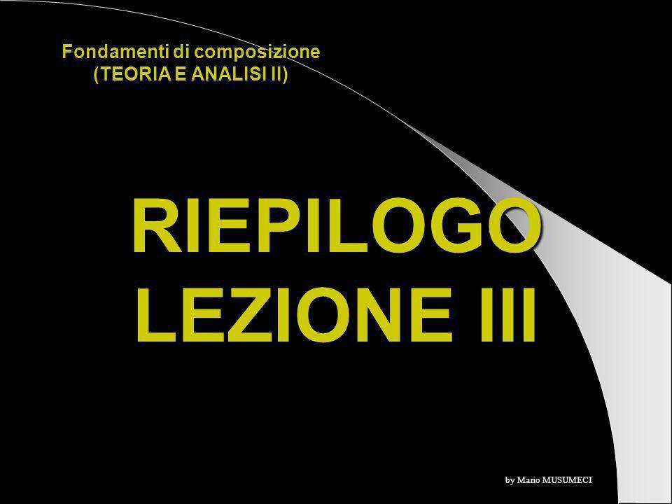 RIEPILOGO LEZIONE III Fondamenti di composizione (TEORIA E ANALISI II) by Mario MUSUMECI