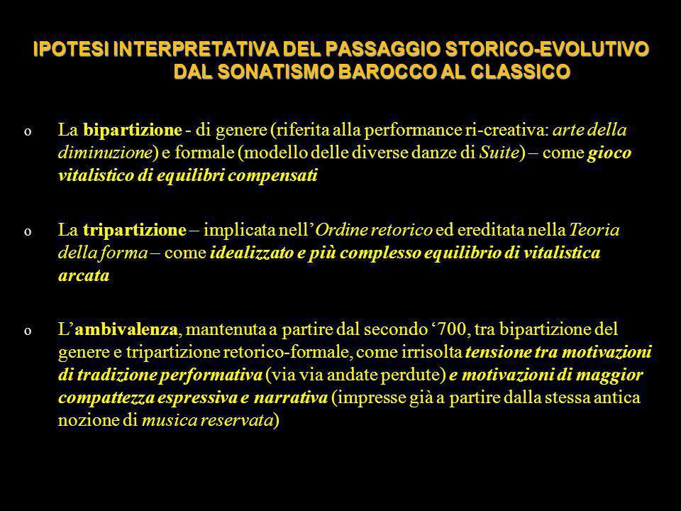 IPOTESI INTERPRETATIVA DEL PASSAGGIO STORICO-EVOLUTIVO DAL SONATISMO BAROCCO AL CLASSICO o La bipartizione - di genere (riferita alla performance ri-c