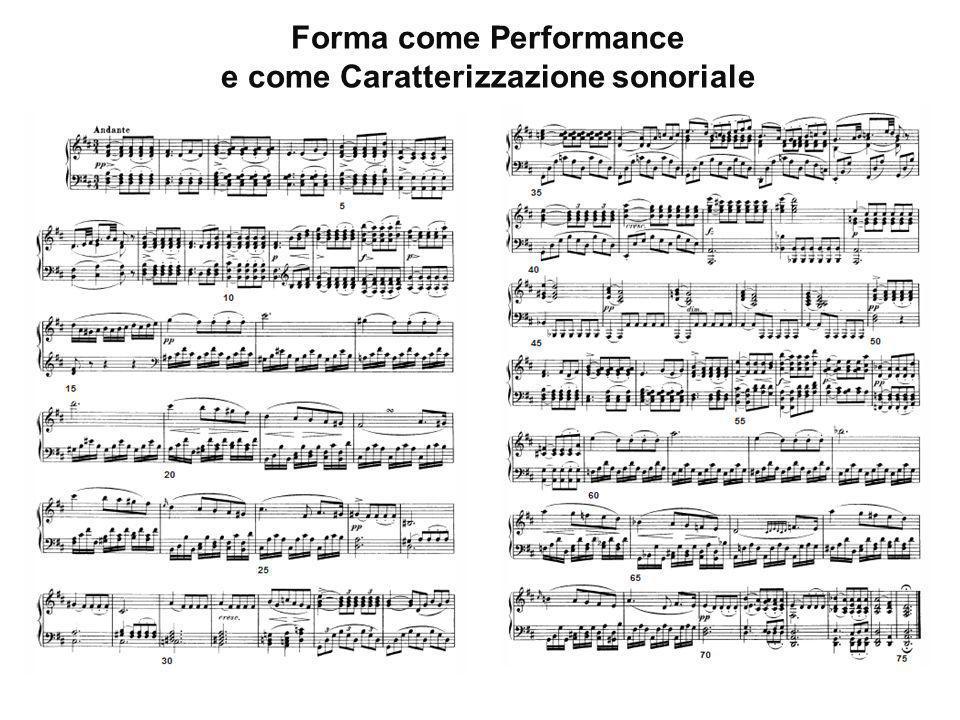 Forma come Performance e come Caratterizzazione sonoriale