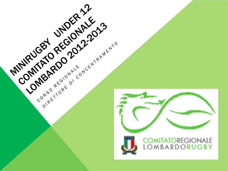 MINIRUGBY UNDER 12 COMITATO REGIONALE LOMBARDO 2012-2013 CORSO REGIONALE DIRETTORE DI CONCENTRAMENTO