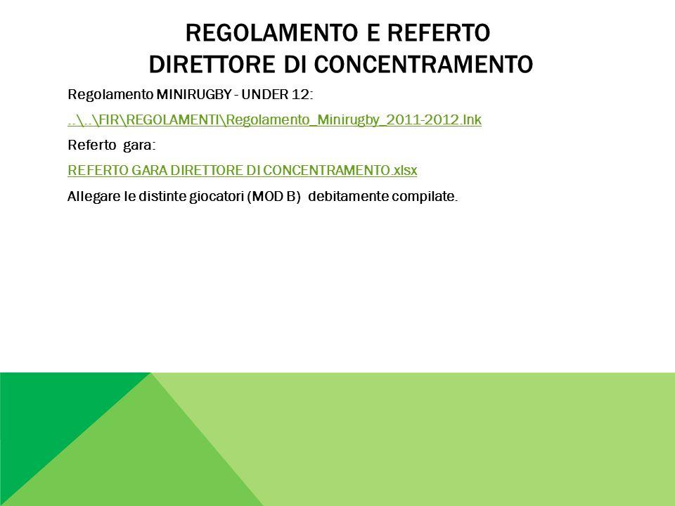 REGOLAMENTO E REFERTO DIRETTORE DI CONCENTRAMENTO Regolamento MINIRUGBY - UNDER 12:..\..\FIR\REGOLAMENTI\Regolamento_Minirugby_2011-2012.lnk Referto g