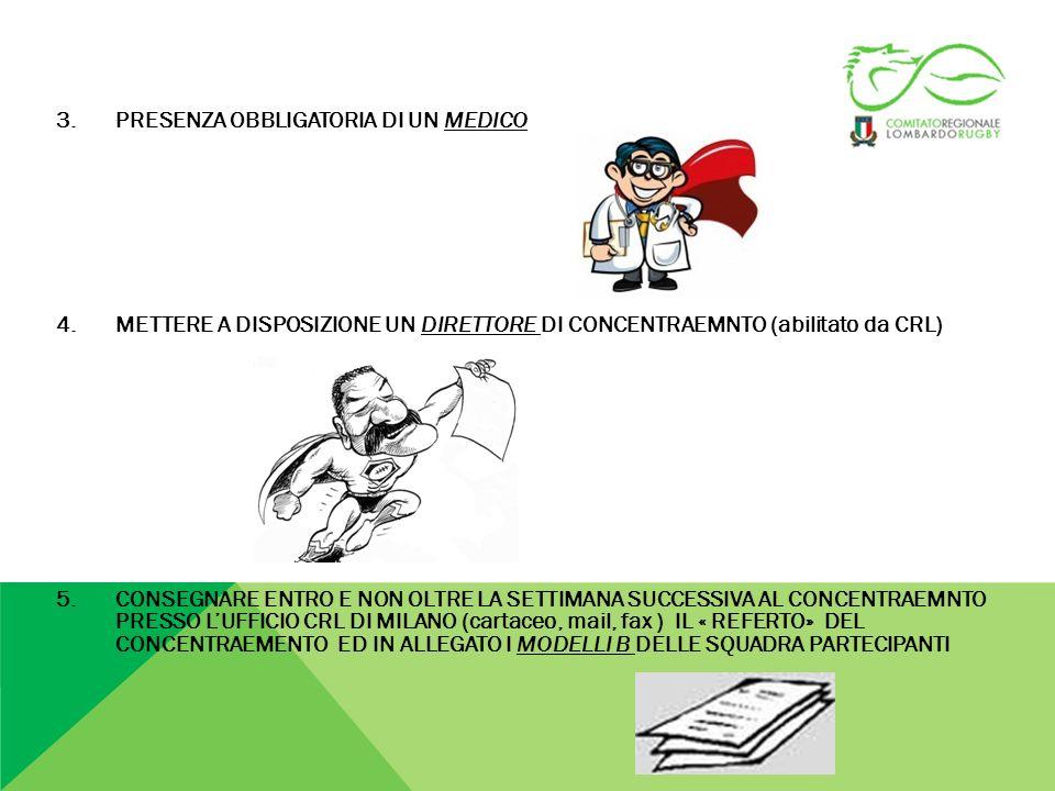 MINIRUGBY 2012-2013 BUONE NORME DI COMPORTAMENTO : CLUB ORGANIZZATORI: GARANTIRE LE SUFFICIENTI CONDIZIONI IGNENICHE E MEDICO/SANITARIE GARANTIRE LA SICUREZZA DELLIMPIANTO E DEI CAMPI DA GIOCO GARANTIRE LINGRESSO AL CAMPO DA GIOCO SOLO AD ATLETI,TECNICI ED ACCOMPAGNATORI GARANTIRE UN COMPORTAMENTO ADEGUATOI ED EDUCATO DI TUTTI I PROPRI TESSERATI GARANTIRE UNA SEGRETERIA TECNICA DEL CONCENTRAMENTO COMUNICARE PER TEMPO AI CLUB OSPITATI (7 giorni prima dellevento) PROGRAMMA E TABELLONE GARE ED EVENTUALI VARIAZIONI PRIMA DELLINIZO DEL CONCENTRAMENTO EFFETUARE BREAFING CON ALLENATORI E ACCOMPAGNATORI, COSEGNA PROGRAMMA GARE PREPARAZIONE TERZO TEMPO ATLETI CLUB OSPITI: COMUNICARE PER TEMPO AL CLUB E A CRL EVENTUALE RINUNCIA PER PROBLEMI DELL ULTIMA ORA GARANTIRE UN COMPORTAMENTO ADEGUATO ED EDUCATO DI TUTTI I PROPRI TESSERATI