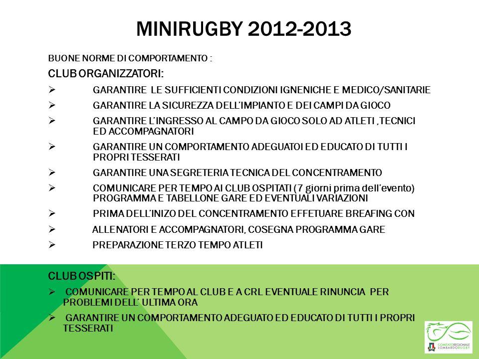 MINIRUGBY 2012-2013 BUONE NORME DI COMPORTAMENTO : CLUB ORGANIZZATORI: GARANTIRE LE SUFFICIENTI CONDIZIONI IGNENICHE E MEDICO/SANITARIE GARANTIRE LA S