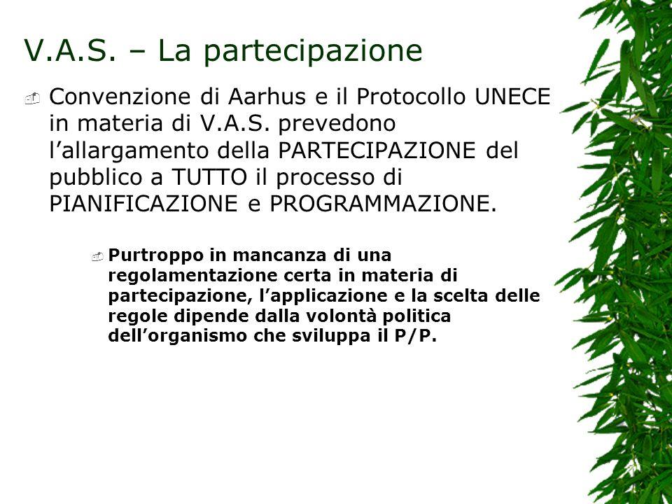 V.A.S. – La partecipazione Convenzione di Aarhus e il Protocollo UNECE in materia di V.A.S. prevedono lallargamento della PARTECIPAZIONE del pubblico