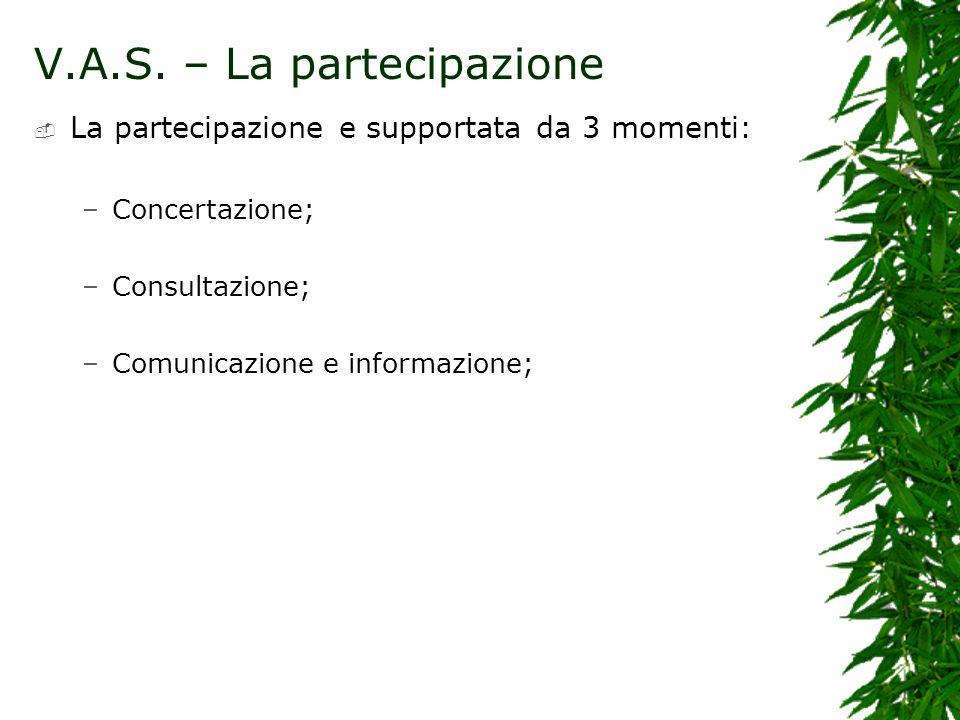 La partecipazione e supportata da 3 momenti: –Concertazione; –Consultazione; –Comunicazione e informazione;