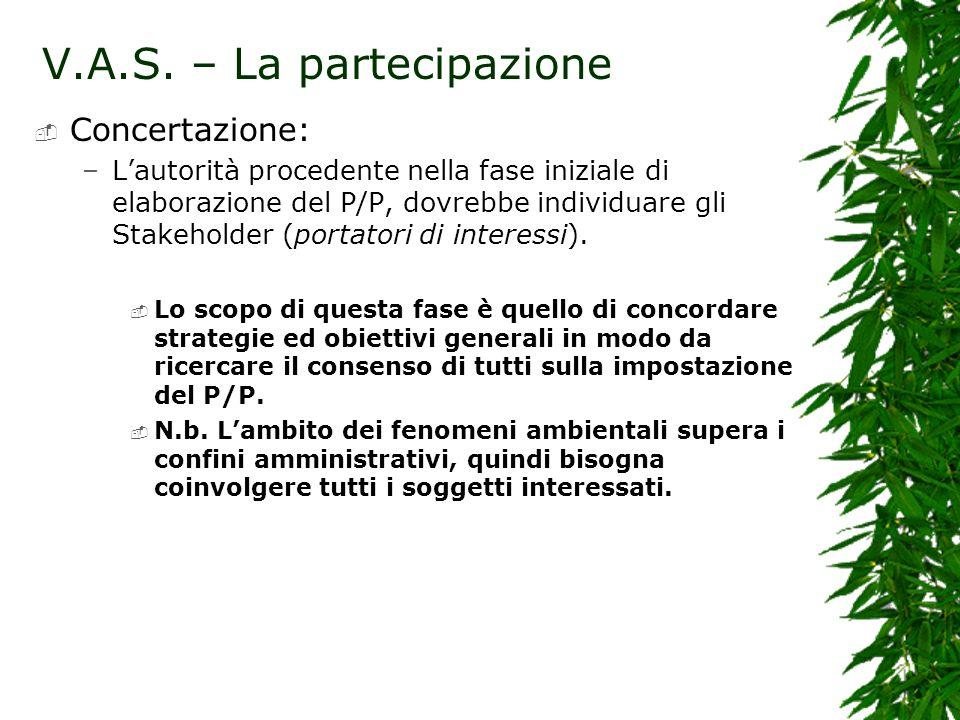 V.A.S. – La partecipazione Concertazione: –Lautorità procedente nella fase iniziale di elaborazione del P/P, dovrebbe individuare gli Stakeholder (por
