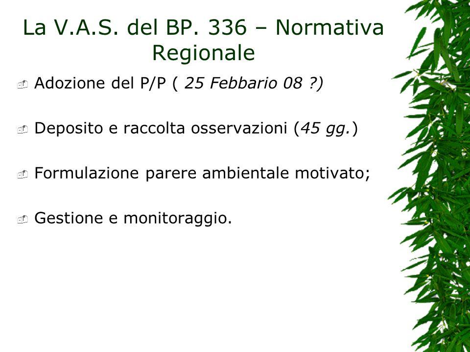 La V.A.S. del BP. 336 – Normativa Regionale Adozione del P/P ( 25 Febbario 08 ?) Deposito e raccolta osservazioni (45 gg.) Formulazione parere ambient