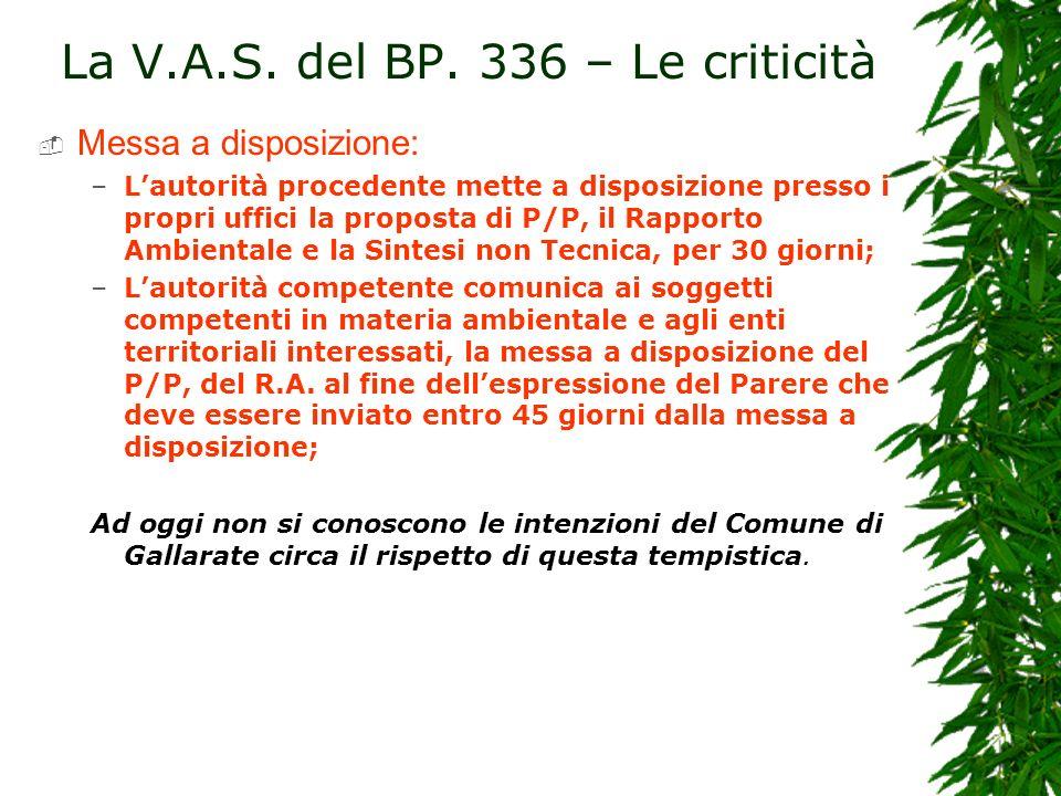 La V.A.S. del BP. 336 – Le criticità Messa a disposizione: –Lautorità procedente mette a disposizione presso i propri uffici la proposta di P/P, il Ra