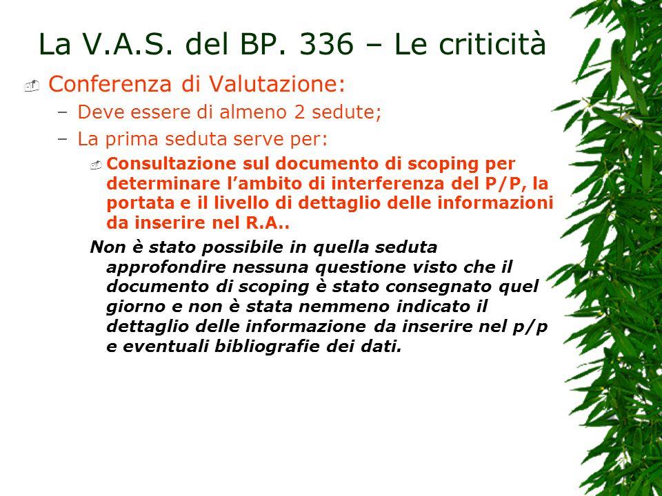 La V.A.S. del BP. 336 – Le criticità Conferenza di Valutazione: –Deve essere di almeno 2 sedute; –La prima seduta serve per: Consultazione sul documen