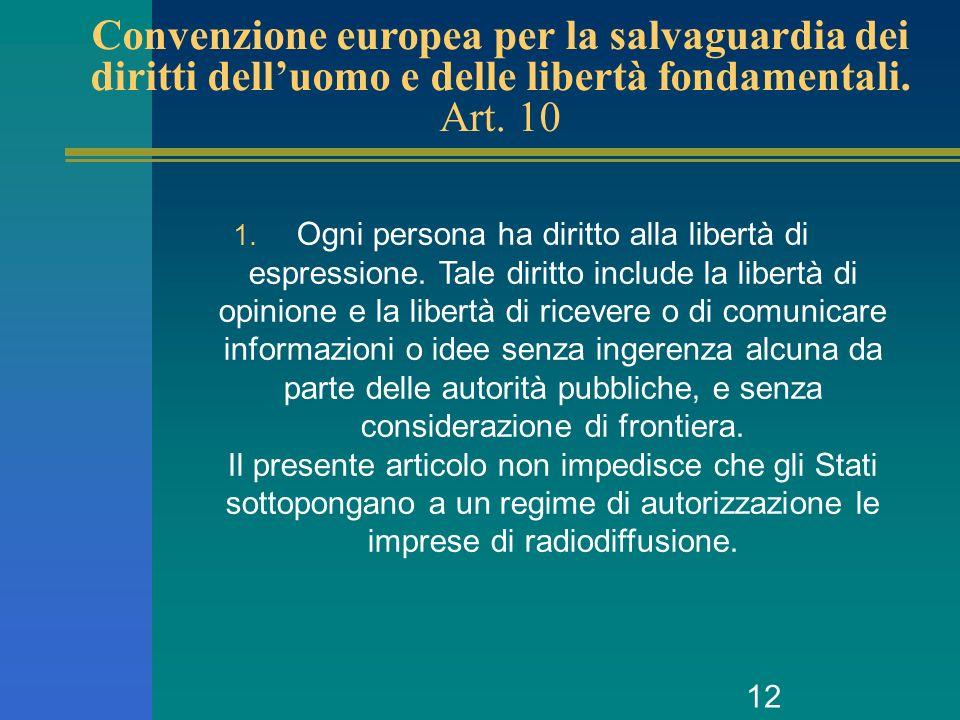 12 Convenzione europea per la salvaguardia dei diritti delluomo e delle libertà fondamentali. Art. 10 1. Ogni persona ha diritto alla libertà di espre