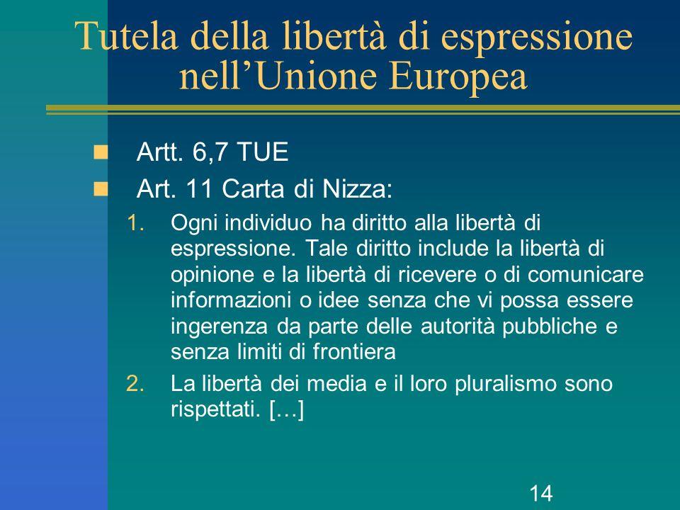 14 Tutela della libertà di espressione nellUnione Europea Artt. 6,7 TUE Art. 11 Carta di Nizza: 1.Ogni individuo ha diritto alla libertà di espression