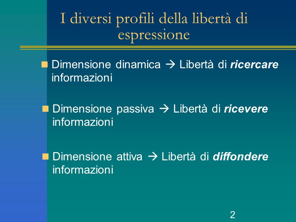 2 I diversi profili della libertà di espressione Dimensione dinamica Libertà di ricercare informazioni Dimensione passiva Libertà di ricevere informazioni Dimensione attiva Libertà di diffondere informazioni