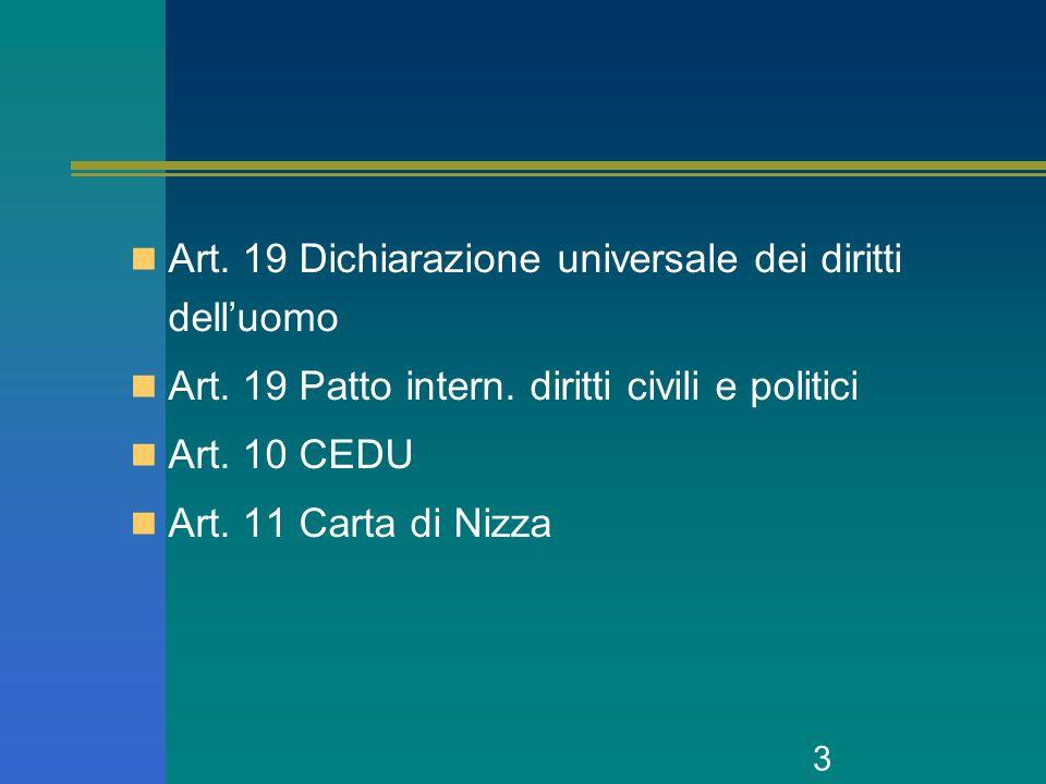 3 Art. 19 Dichiarazione universale dei diritti delluomo Art. 19 Patto intern. diritti civili e politici Art. 10 CEDU Art. 11 Carta di Nizza
