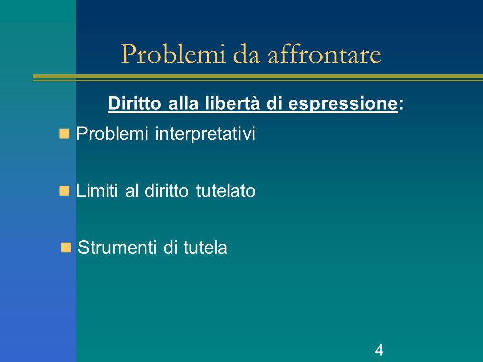4 Problemi da affrontare Problemi interpretativi Limiti al diritto tutelato Strumenti di tutela Diritto alla libertà di espressione: