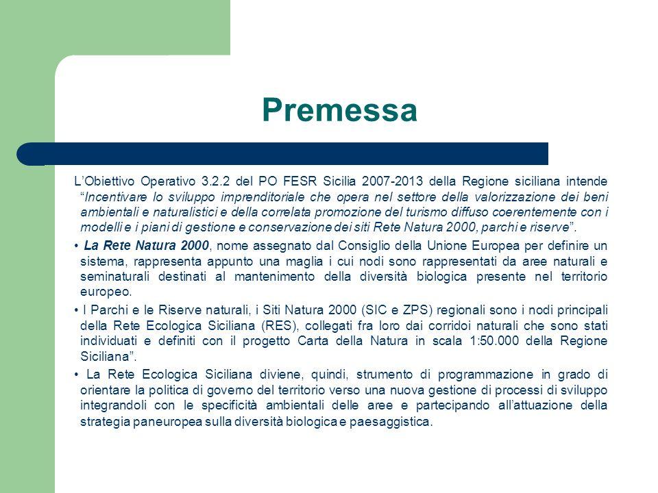 Premessa LObiettivo Operativo 3.2.2 del PO FESR Sicilia 2007-2013 della Regione siciliana intendeIncentivare lo sviluppo imprenditoriale che opera nel