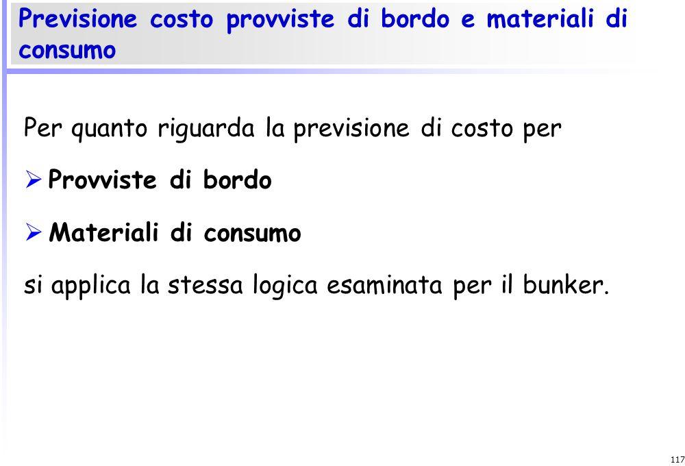 116 I consumi di bunker presuppongono la stima di: Quantità consumate Prezzi unitari La previsione dei consumi si fonda sul consumo atteso per miglio