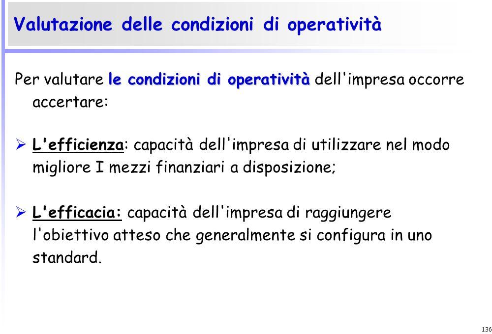135 le condizioni di operatività Per valutare le condizioni di operatività dell'impresa occorre accertare: La solidità: capacità dell'impresa di perdu