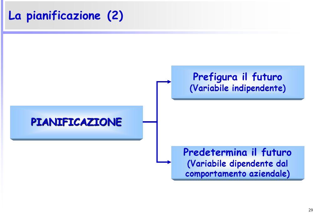 28 È il processo mediante il quale limpresa disegna il proprio futuro, sceglie i percorsi più convenienti, predispone le risorse necessarie per attuar