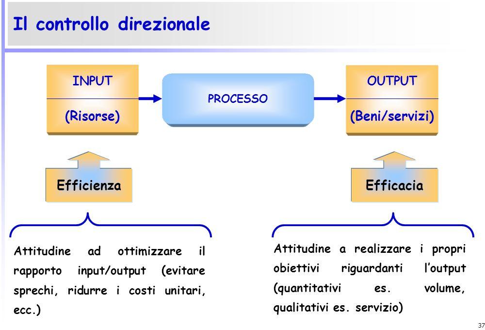 36 Lefficacia è lattitudine ad ottimizzare i risultati riguardanti gli output della gestione. Tali output debbono essere apprezzati sotto diversi aspe