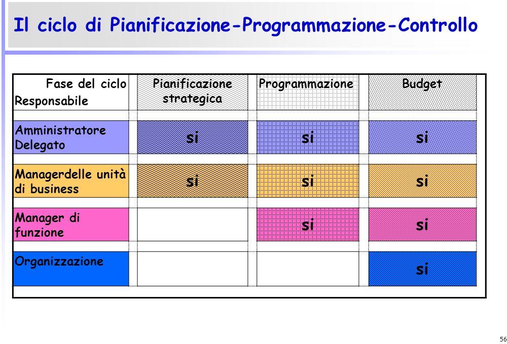 55 La necessità di un controllo di gestione formalizzato nasce soprattutto nelle seguenti situazioni: Crescita dimensionale (strutturale e/o operativa