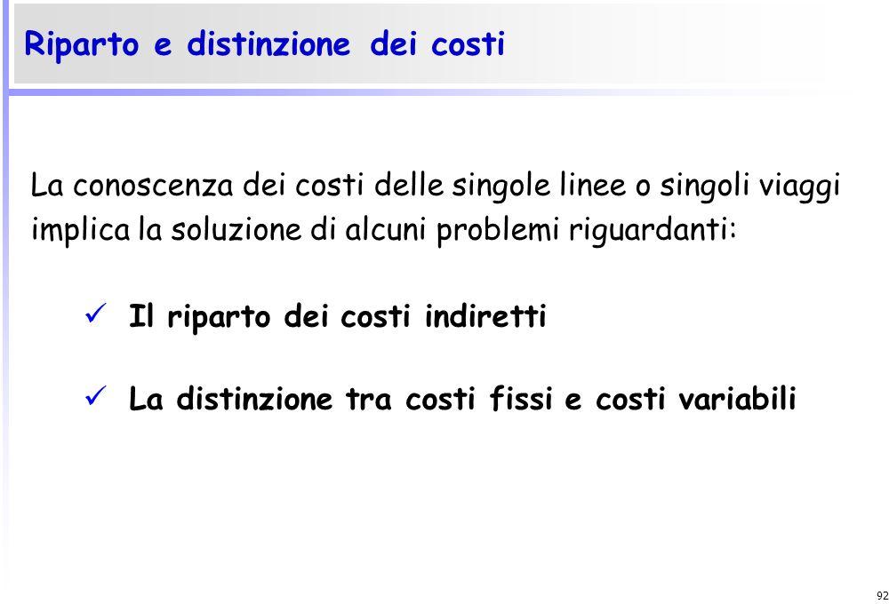 91 Costi diretti e Costi indiretti Costi fissi e Costi variabili Classificazione dei costi