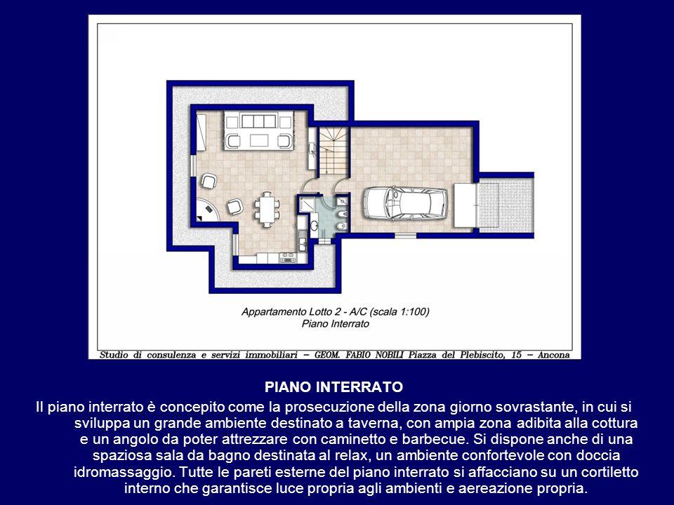 PIANO INTERRATO Il piano interrato è concepito come la prosecuzione della zona giorno sovrastante, in cui si sviluppa un grande ambiente destinato a t
