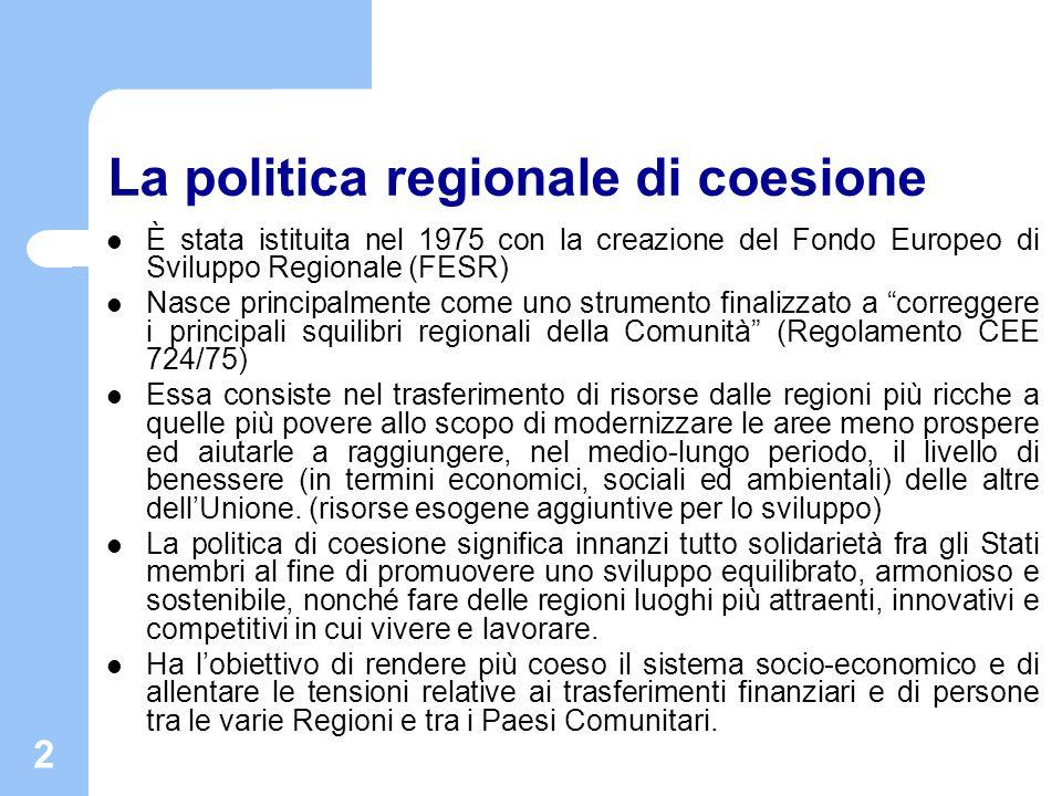 2 La politica regionale di coesione È stata istituita nel 1975 con la creazione del Fondo Europeo di Sviluppo Regionale (FESR) Nasce principalmente co