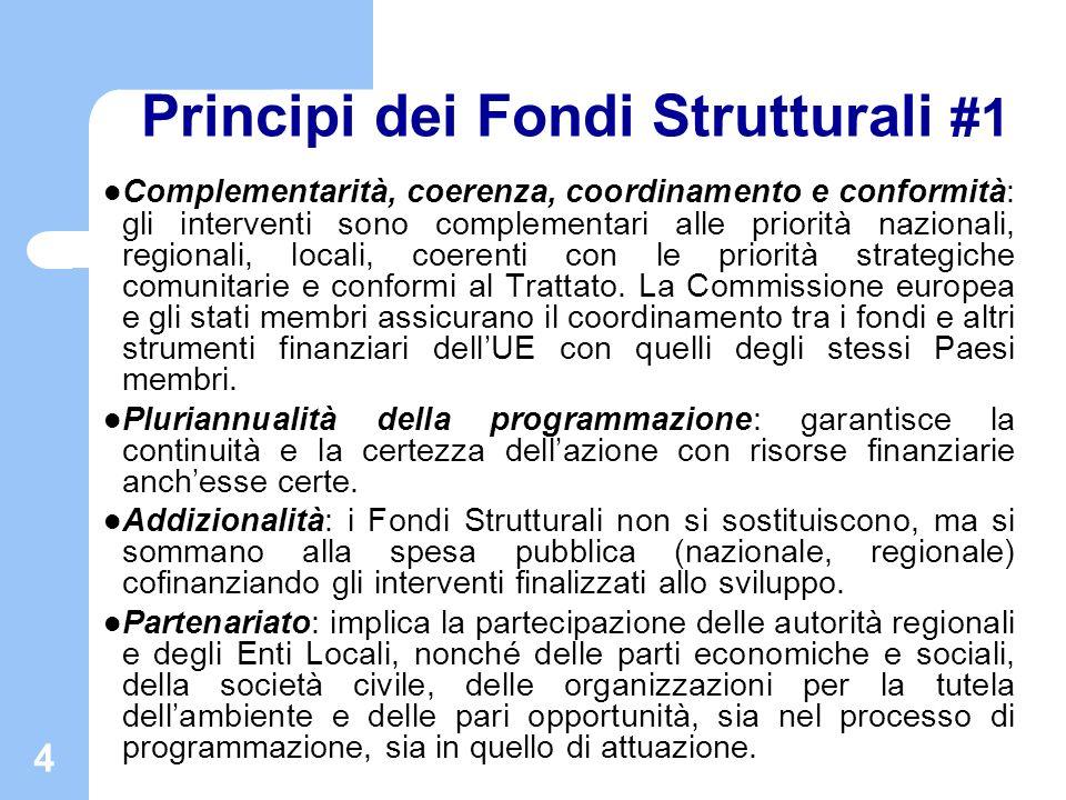 4 Principi dei Fondi Strutturali #1 Complementarità, coerenza, coordinamento e conformità: gli interventi sono complementari alle priorità nazionali,