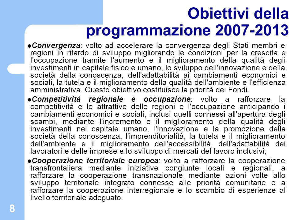 8 Obiettivi della programmazione 2007-2013 Convergenza: volto ad accelerare la convergenza degli Stati membri e regioni in ritardo di sviluppo miglior
