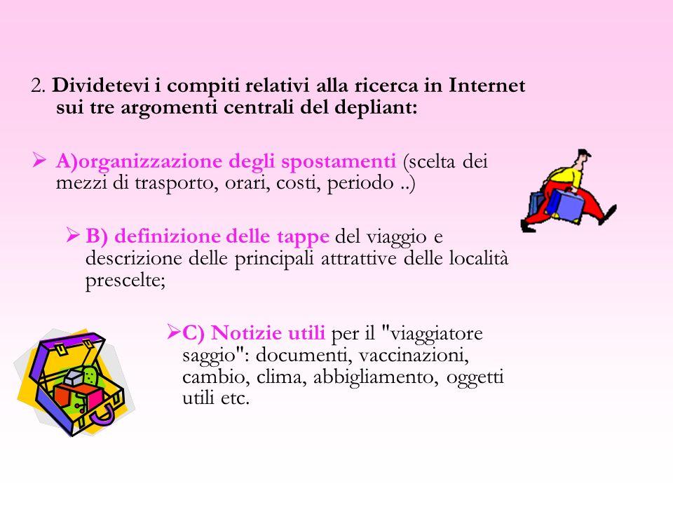 2. Dividetevi i compiti relativi alla ricerca in Internet sui tre argomenti centrali del depliant: A)organizzazione degli spostamenti (scelta dei mezz