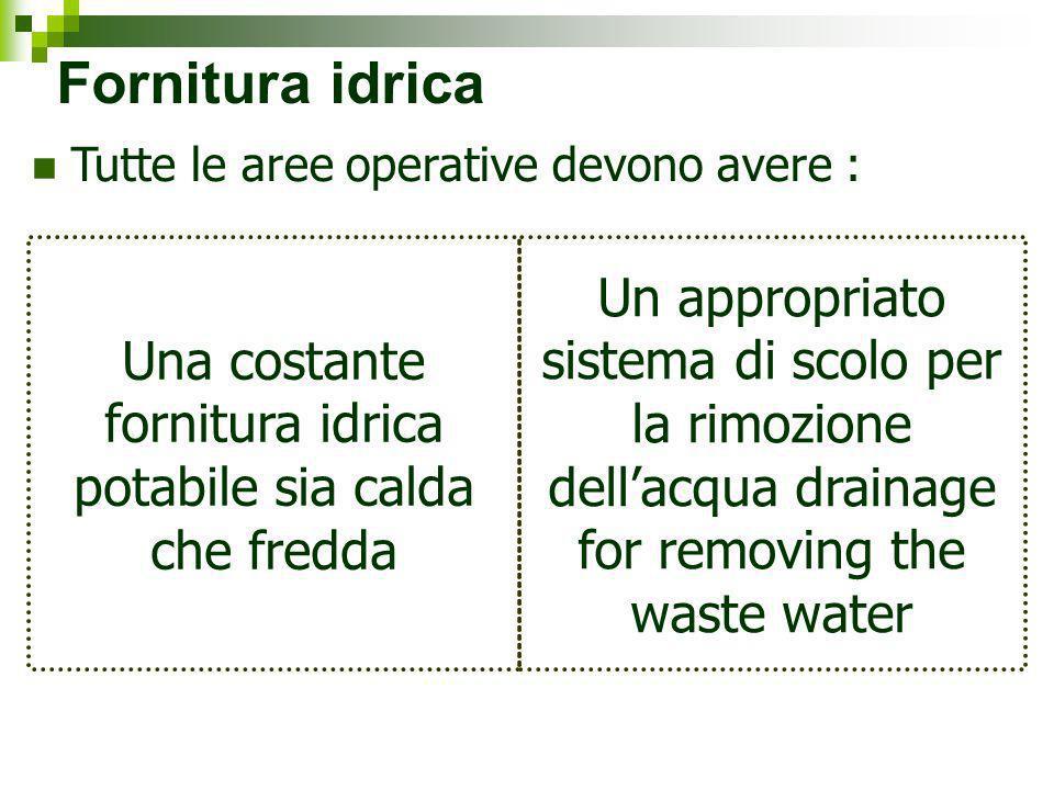 Fornitura idrica Tutte le aree operative devono avere : Una costante fornitura idrica potabile sia calda che fredda Un appropriato sistema di scolo pe