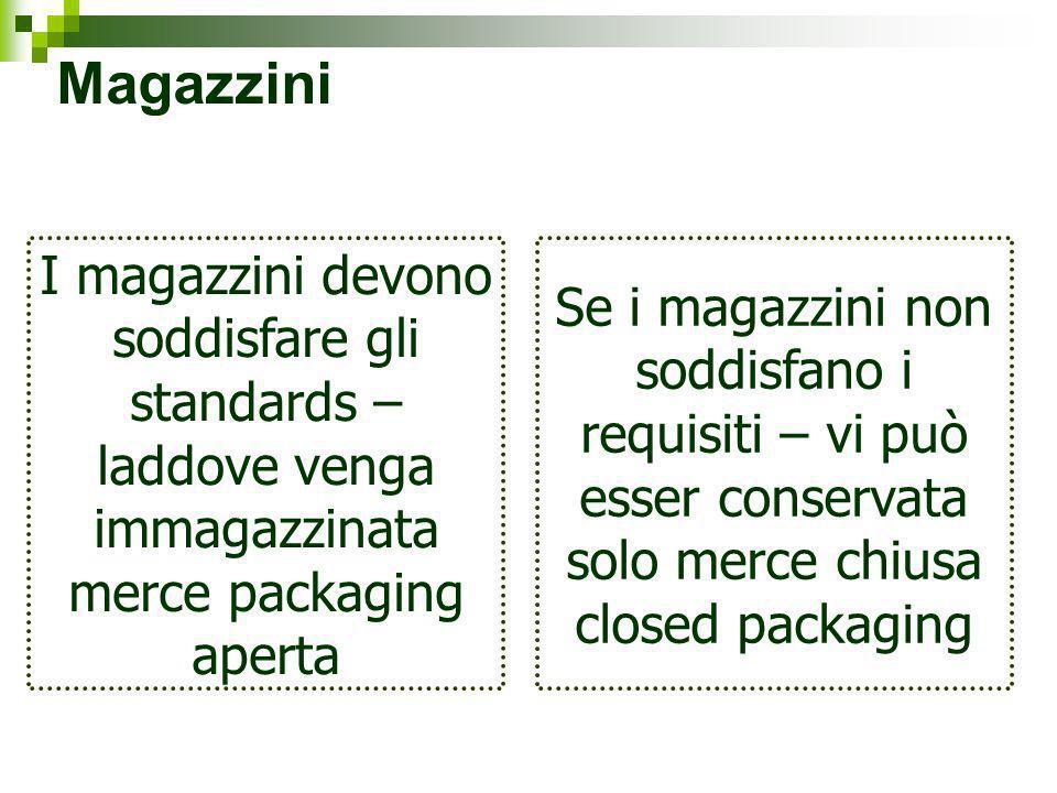 Magazzini I magazzini devono soddisfare gli standards – laddove venga immagazzinata merce packaging aperta Se i magazzini non soddisfano i requisiti –