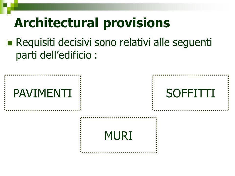 Architectural provisions Requisiti decisivi sono relativi alle seguenti parti delledificio : PAVIMENTI MURI SOFFITTI
