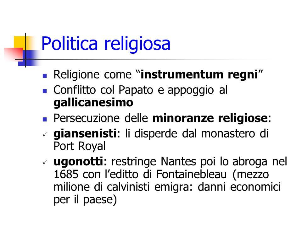 Politica religiosa Religione come instrumentum regni Conflitto col Papato e appoggio al gallicanesimo Persecuzione delle minoranze religiose: gianseni