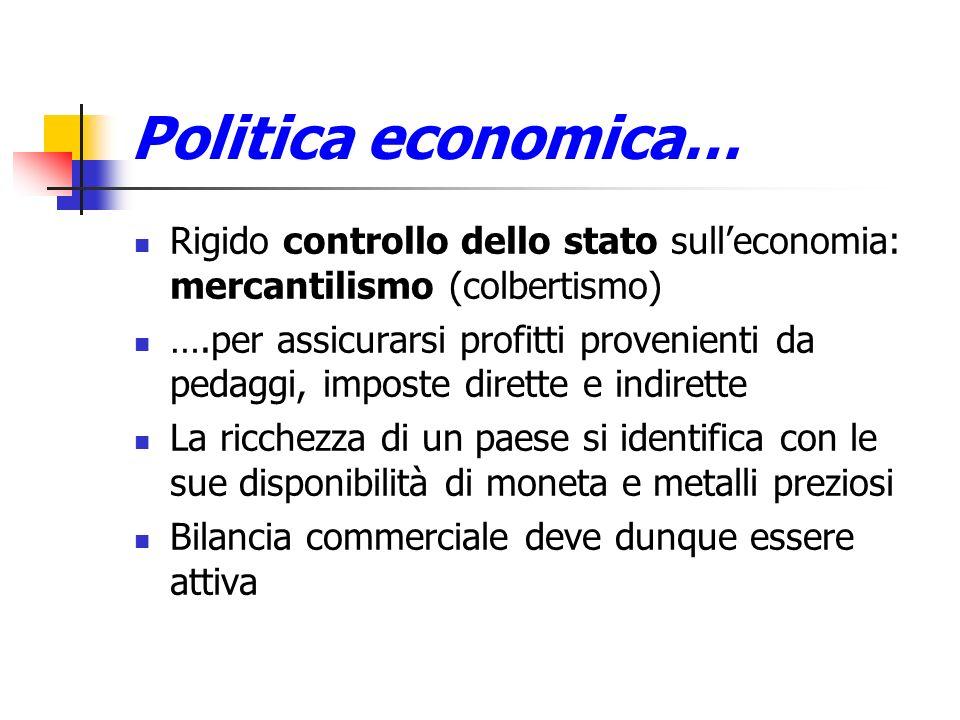 Politica economica… Rigido controllo dello stato sulleconomia: mercantilismo (colbertismo) ….per assicurarsi profitti provenienti da pedaggi, imposte