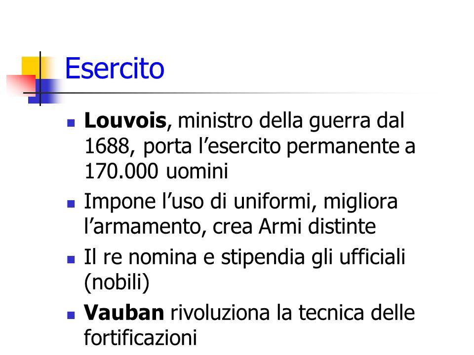 Esercito Louvois, ministro della guerra dal 1688, porta lesercito permanente a 170.000 uomini Impone luso di uniformi, migliora larmamento, crea Armi