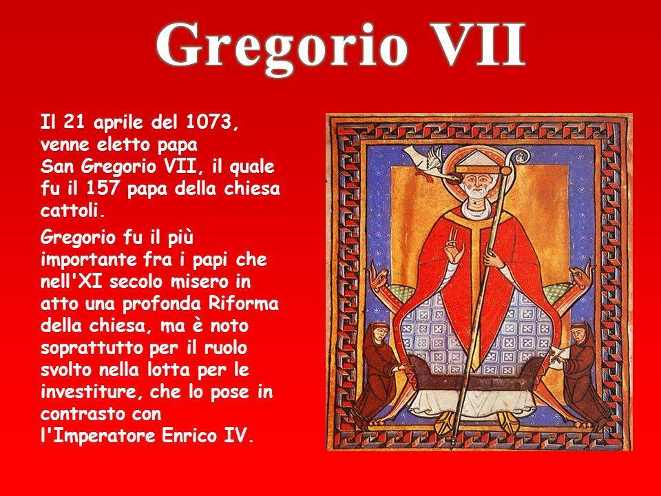 La lotta per le investiture vide contrapposto il potere del papa Gregorio 7° e quello dellimperatore Enrico 4° per la nomina dei vescovi.